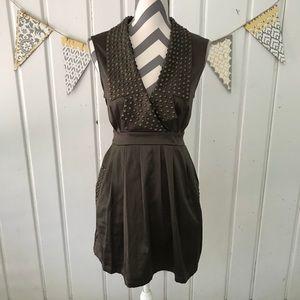Forever 21 Olive Green Studded Satin Deep V Dress